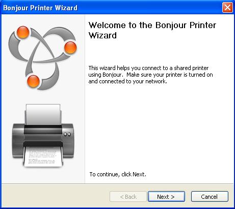 bonjour printer wizard