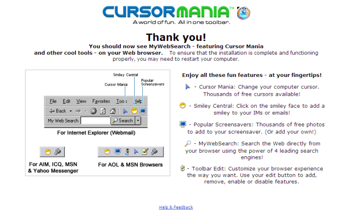 cursormania thank you page