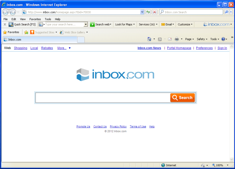 inbox toolbar in internet explorer
