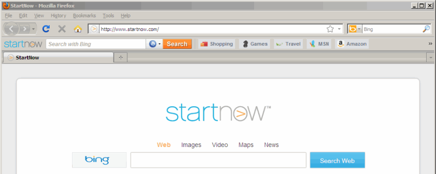 startnow toolbar installed in firefox
