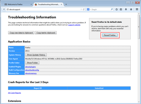 mozilla firefox troubleshooting information reset