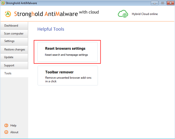 stronghold antimalware reset browsers settings