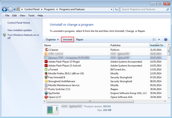 uninstall a program in windows 7