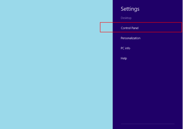 windows 8 menu control panel