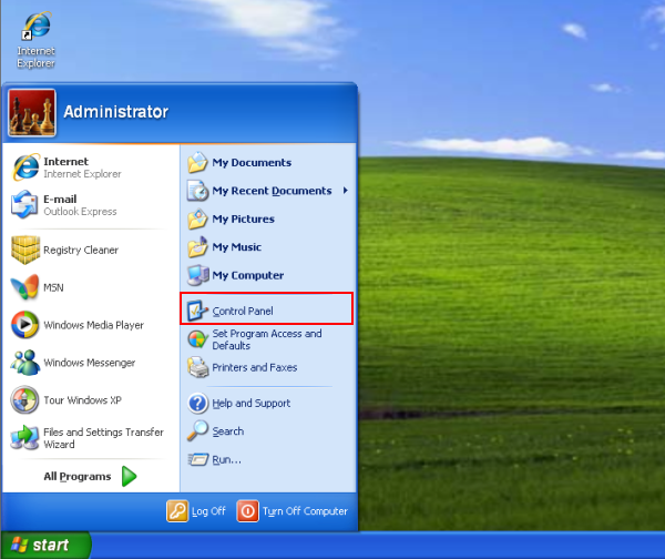 windows xp start control panel