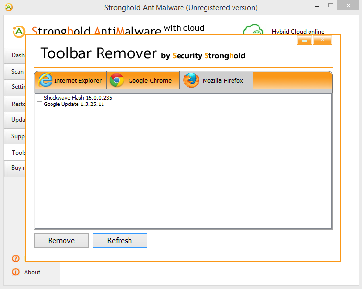 stronghold toolbar remover mozilla firefox
