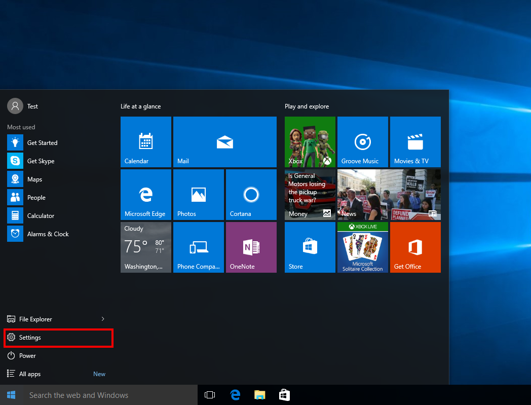 windows 10 start menu settings