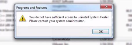 system healer uninstall error