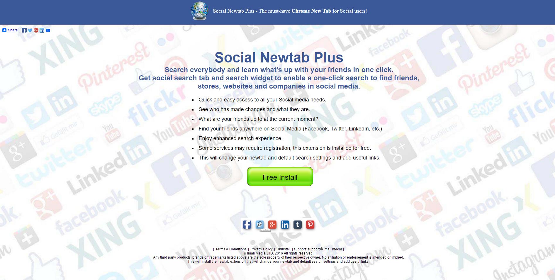 Social Newtab Plus Ads