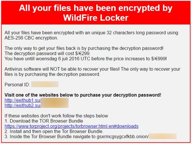 wildfire locker ransomware virus