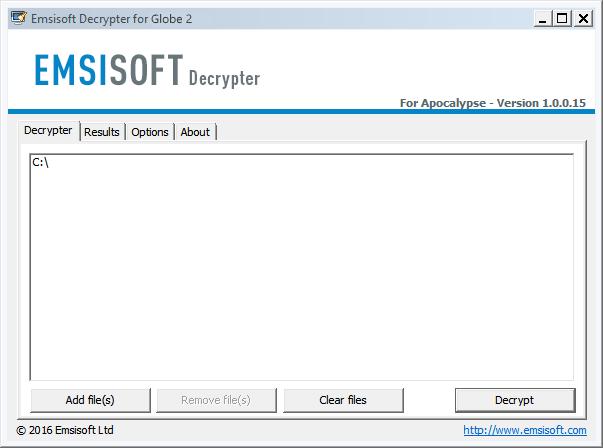 emsisoft globe2 ransomware decryptor