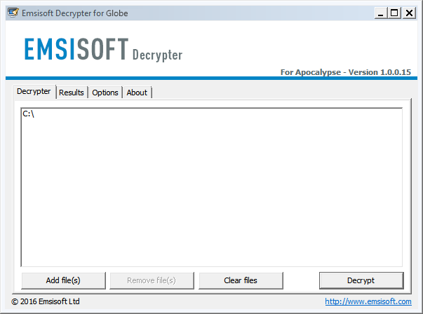 emsisoft globe ransomware decryptor