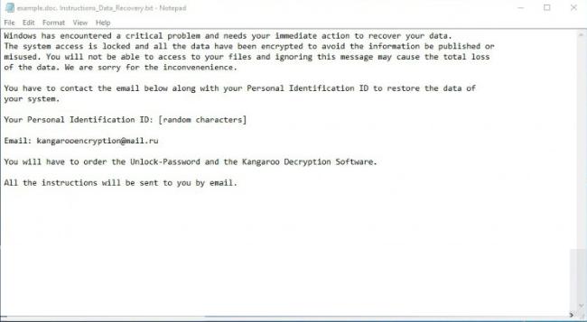 Känguru Ransomware note