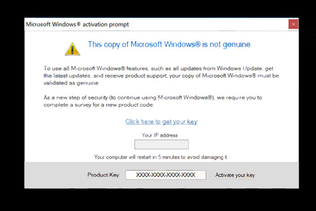 microsoft windows is not genuine scam message