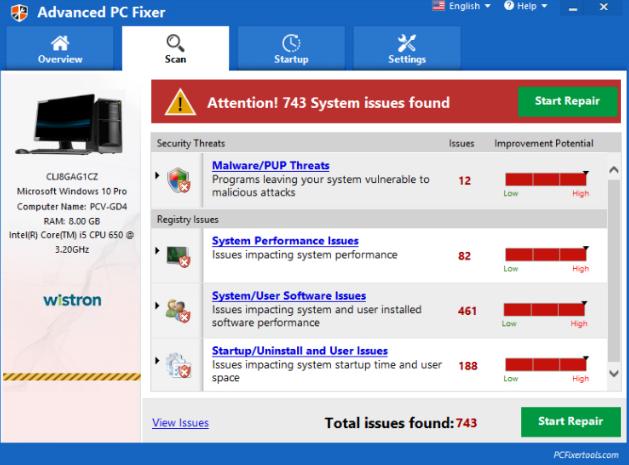 Advanced PC Fixer PUP