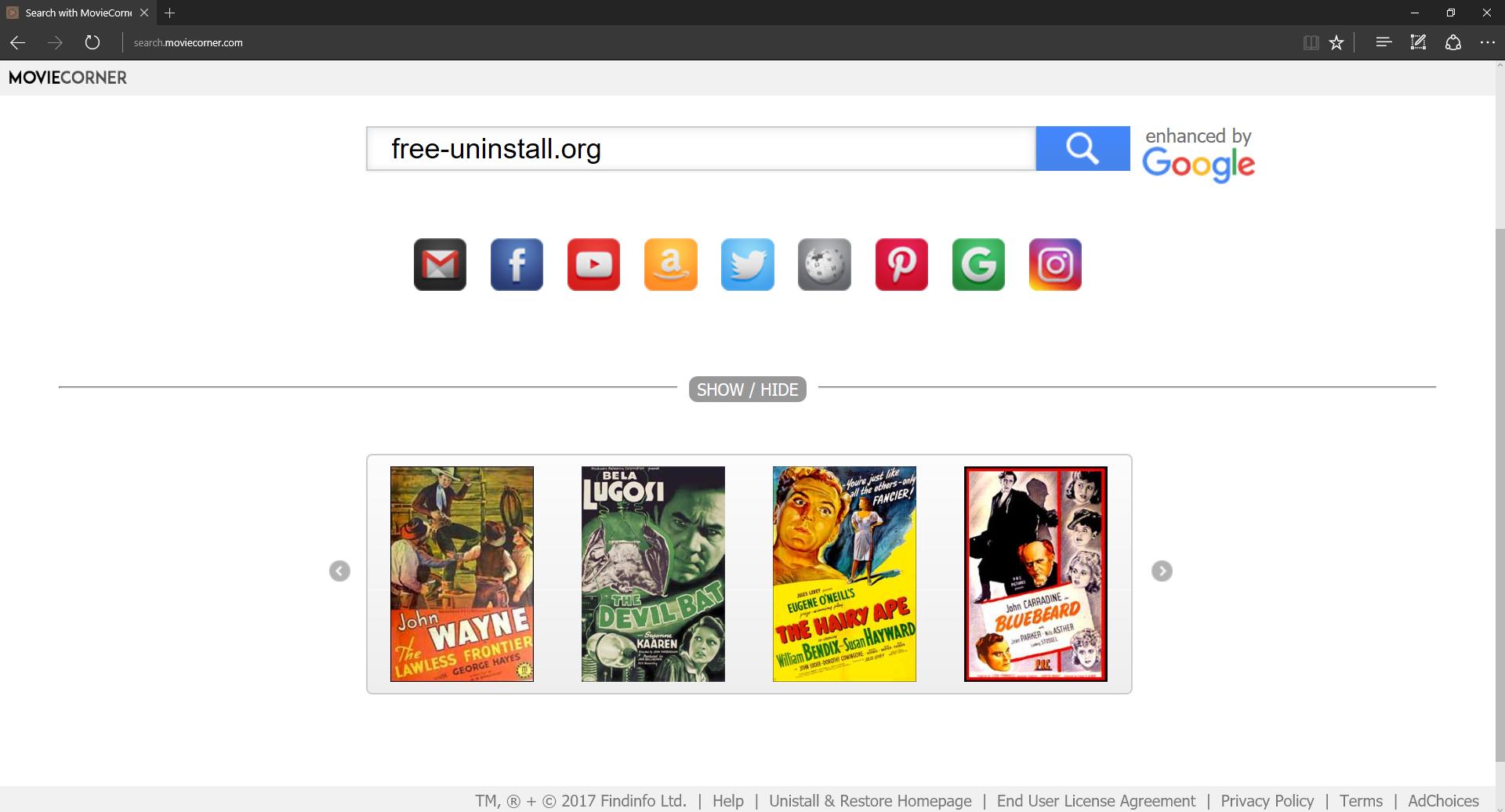 Search.moviecorner.com Hijacker