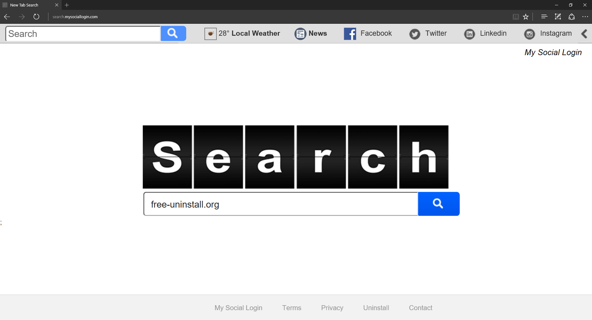 Search.mysociallogin.com Hijacker