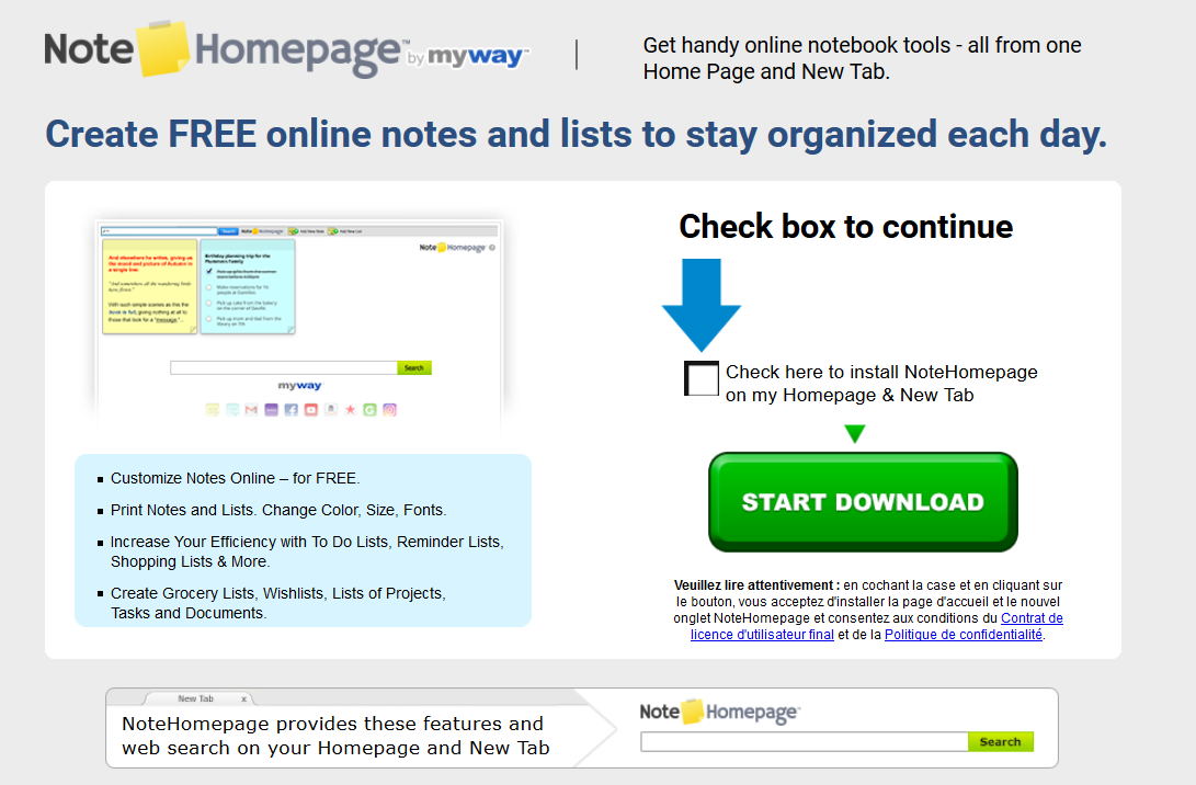 NoteHomepage Toolbar