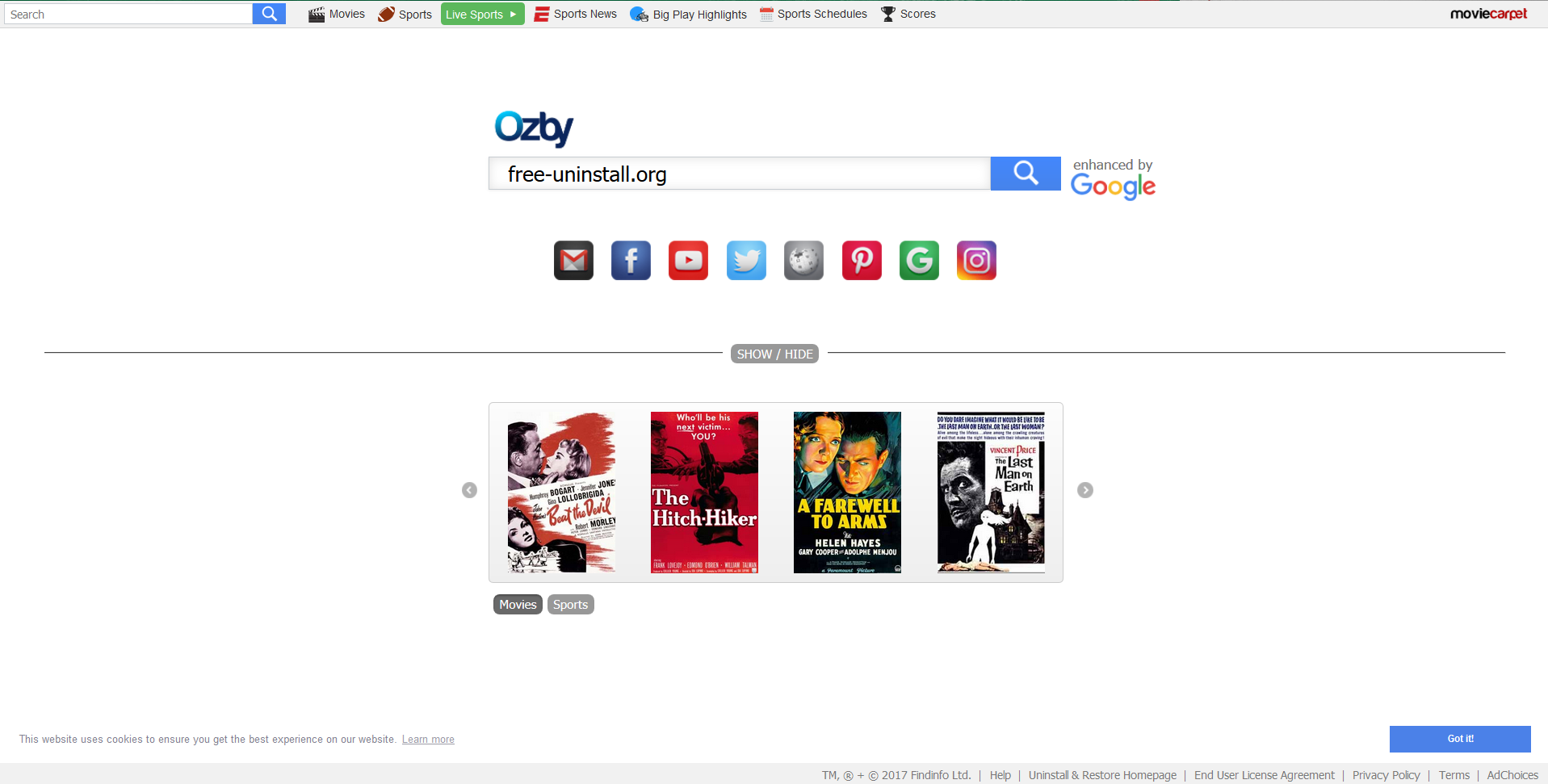 Search.moviecarpet.com hijacker