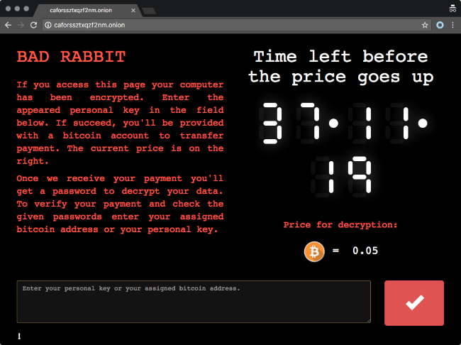 bad rabbit ransomware payment page