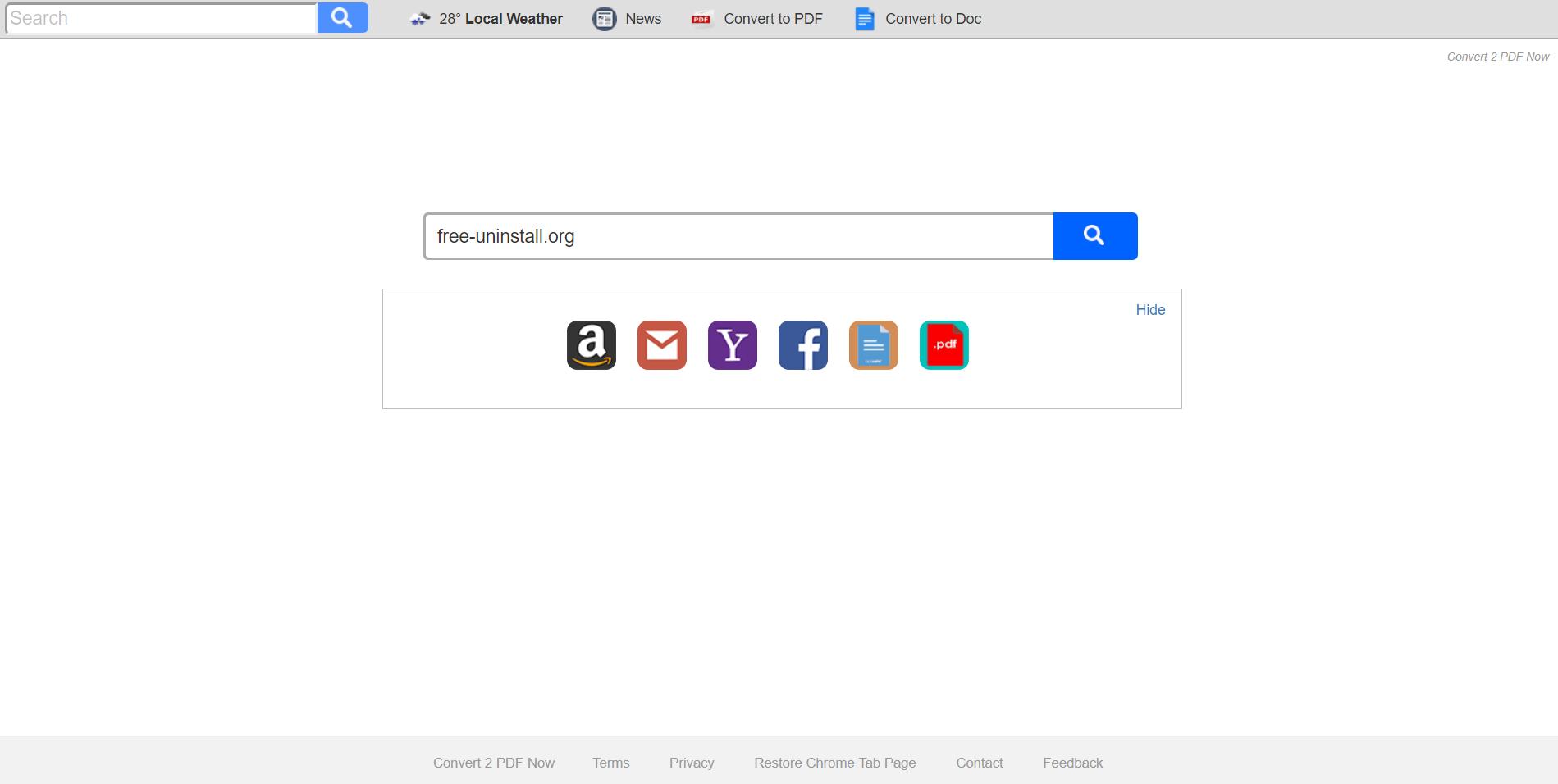 Search.hconvert2pdfnow.com Hijacker