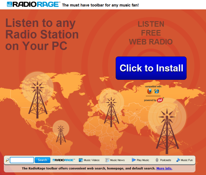 RadioRage Toolbar Hijacker