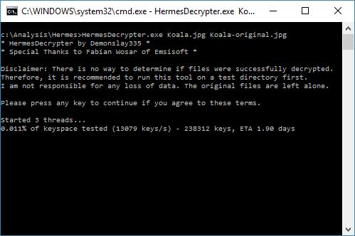 kaspersky rakhni decryptor for Hermes Ransomware