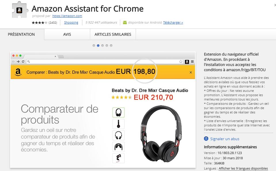 Avis relatifs à l'Assistant Amazon Chrome
