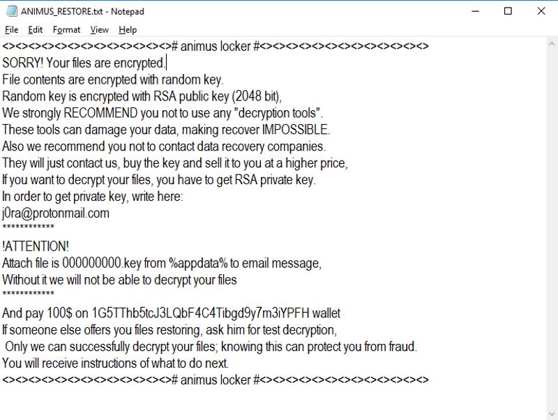 Animus Locker ransomware