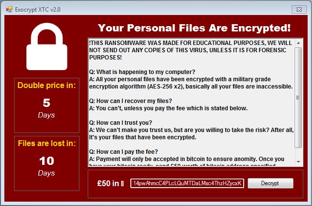 Exocrypt XTC Ransomware 2.0 virus