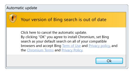 """remove """"Your version of Bing search is out of date"""" Pop-Up"""