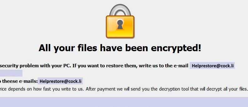 Helprestore@cock.li Ransomware virus