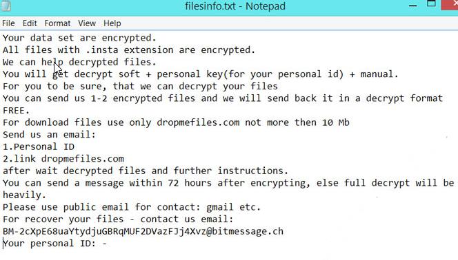 Insta Ransomware virus
