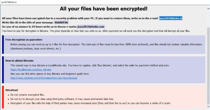 Java2018@tuta.io ransomware
