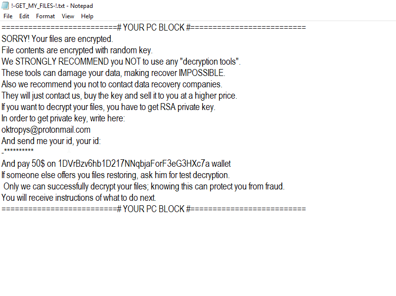Oktopys@protonmail.com ransomware
