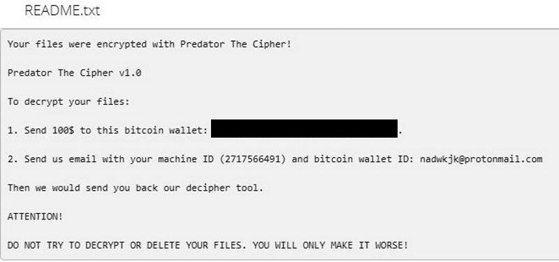 Predator ransomware