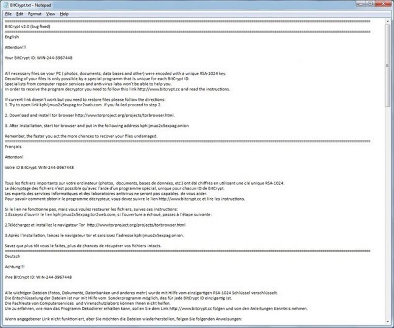 BitCrypt 2.0 Ransomware