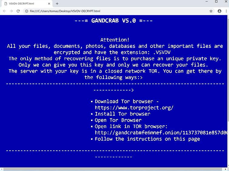 GANDCRAB V5.0 Ransomware
