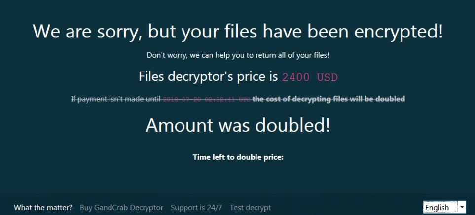 Gandcrab v5.0.4 Ransomware