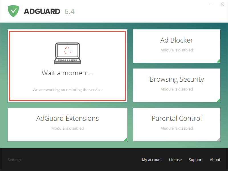 Adguard main window