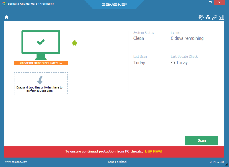 Zemana Antimalware main window