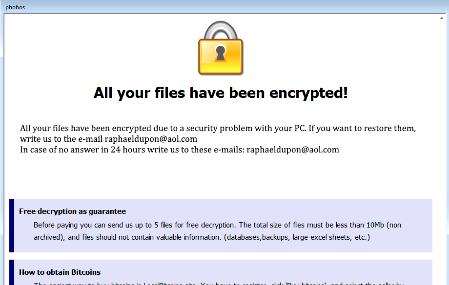 how to delete Phobos Ransomware and decrypt .PHOBOS files