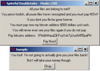 Spiteful Doubletake Ransomware Ransomware