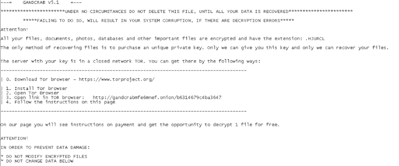 delete GandCrab v5.1 Ransomware