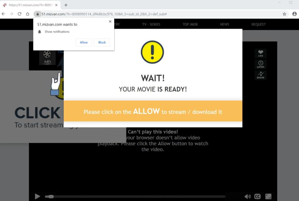 Mizvan.com pop-ups adware