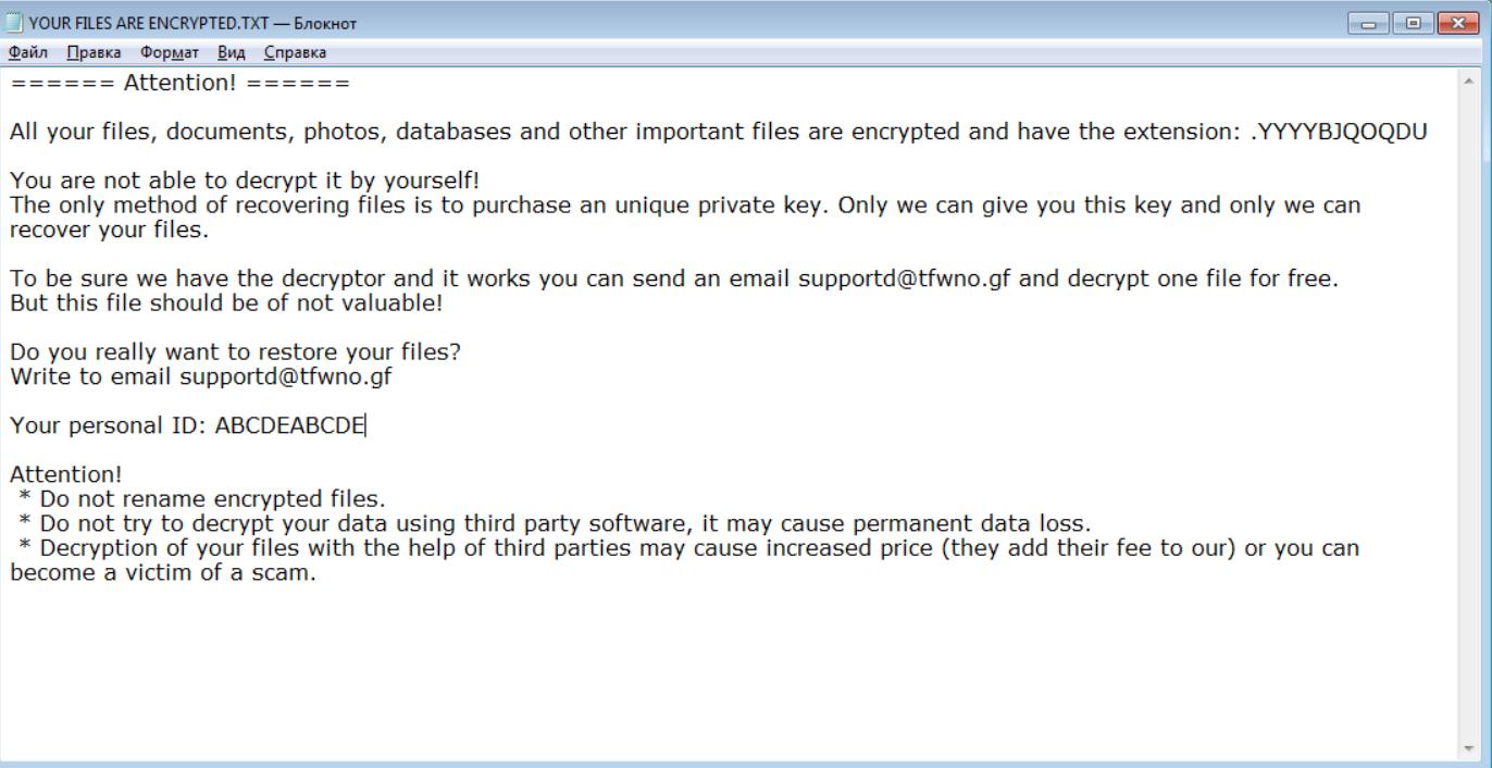 YYYYBJQOQDU Ransomware Ransomware