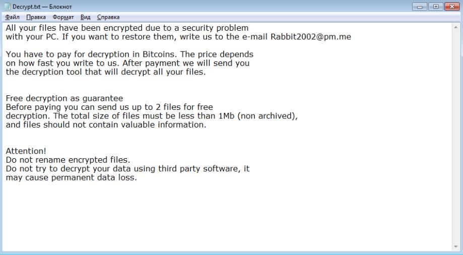 RabbitFox Ransomware Ransomware
