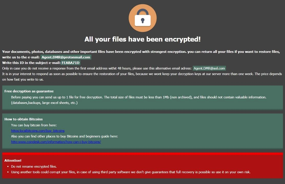 remove DMR64 Ransomware note