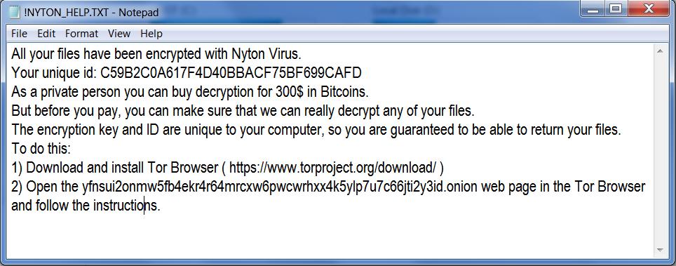 Nyton ransom note
