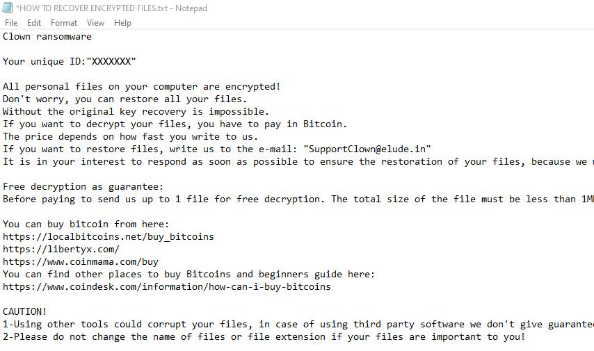 remove Clown Ransomware note